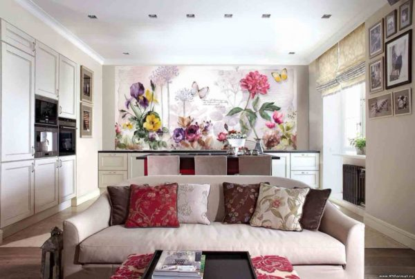 Фотообои в гостиную с цветами - Арт-Принт
