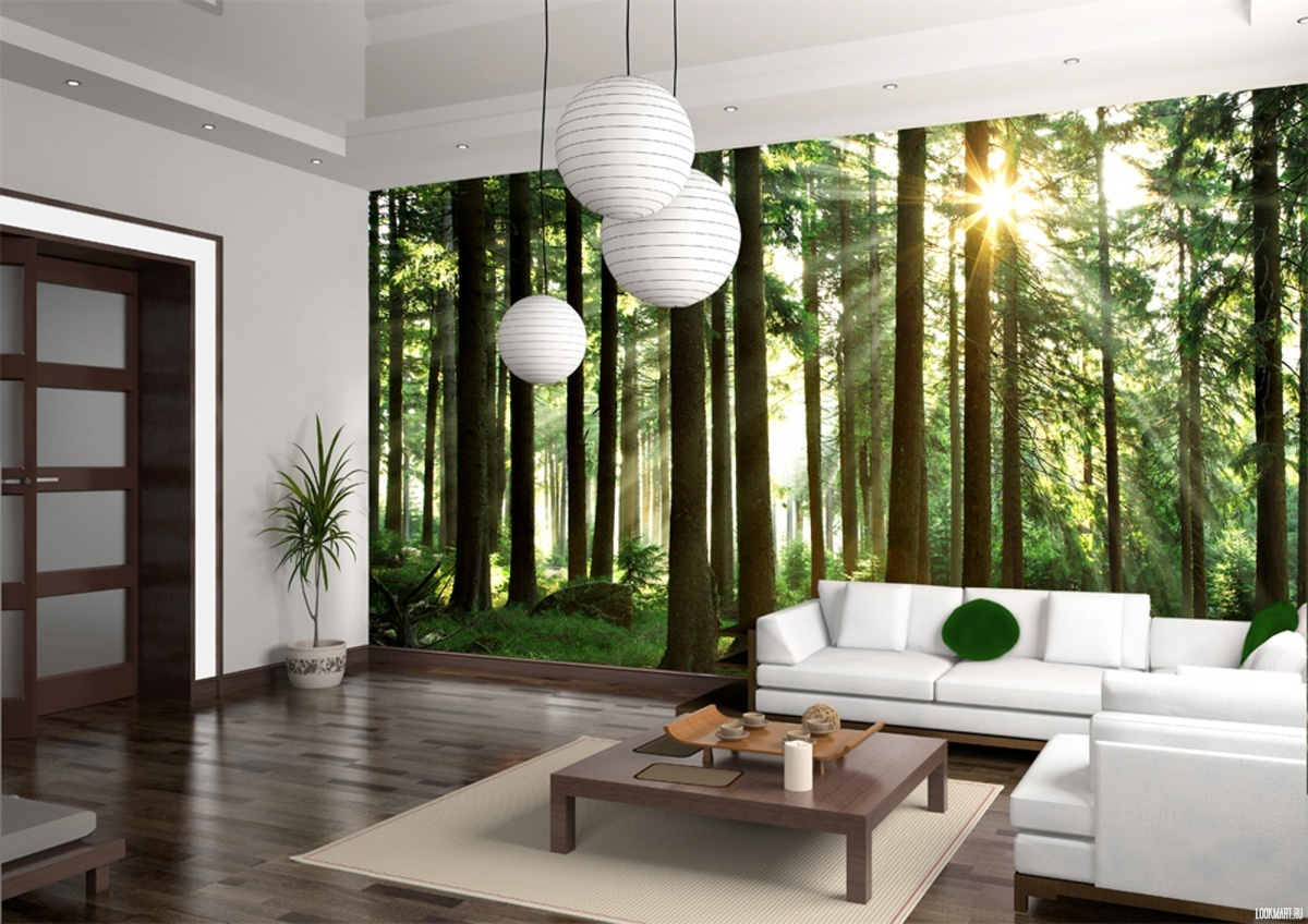 Trees and sun rays photomural wallpaper in the living room